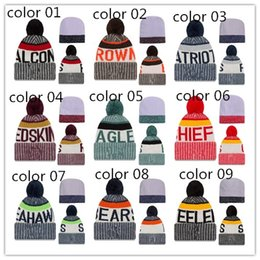 Wholesale Cheap Pom Hats - Beanies Cheap Football Pom Pom Beanies Cool Winter Beanie Caps Brand Knitted Hats Fashion Skull Caps New Women Hats Thanskgiving Gifts