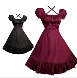 Wholesale Movies Beautiful Women - (LLT063) Beautiful Gothic Lolita Dress Short-sleeve Shirt Dress for Women Cosplay Costumes Retro Dresses Customized Size