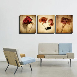 Wholesale Oil Canvas House - Modern Oil Painting Art in Full Bloom Rose 3 Board Without Frame Painting Hanging On The Wall Of The House Decoration
