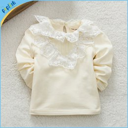 Wholesale Baby Plain Shirt - Wholesale Girl Long Sleeve T shirt Solid Plain Color Lace kids Spring Autumn T shirt Sweet Cute Tees for Baby Girls