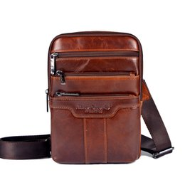 Wholesale Male Handbags Casual - Wholesale-Famous brand gold coral genuine leather messenger bags for men shoulder bags male chest pack man handbag cowhide crossbody bags