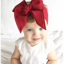 Wholesale vintage headdresses - Baby Girls Vintage Bow Headbands Children Kids Satin Cloth DIY Hairbands Princess Headdress Big Bowknot Hair Accessories 10 Colors KHA522