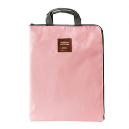 Wholesale A4 Paper Storage - Wholesale- Simple Solid A4 Big Capacity Document Bag Business Briefcase Storage File Folder for Papers Stationery Student Gift