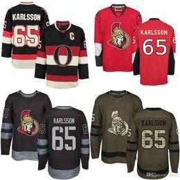 Wholesale Ottawa Hockey - Cheap 2016 New Mens 65 Erik Karlsson Ottawa Senators 1917-2017 100th Anniversary Stitched High quality Red Black Green Ice Hockey jerseys