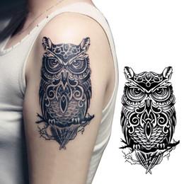 Wholesale Vintage Owl Art - Wholesale- Vintage Black Owl Arm Fake Transfer Tattoo Sexy Large Temporary Tattoos Sticker Men Women Body Art 21*15cm