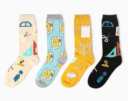 Wholesale Notebook Yellow - Wholesale-Brand Hay New Stationery Style Cute Notebook Ruler Computer Combed Cotton Couple Men Women Lady Girl Socks Sock Free Size