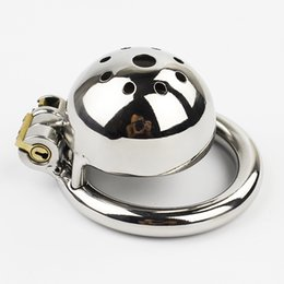 Wholesale Bdsm Locked Cock - Super Small Male Chastity Device 35MM Adult Cock Cage BDSM Sex Toys For Men Chastity Belt With NEW LOCK