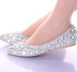 Wholesale silver rhinestone bridal shoes 11 - Flats Heels Pointed Toe AB Crystal Wedding Shoes Silver Dancing Flats Performance Show Women Dress Shoes Bridal Bridesmaid Shoes