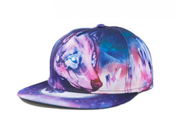 Wholesale Heat Transfer Images - Personality Fashion Lovers Holiday Beach Hat Hiphop Cap with 3D Heat Transfer Printing Wolf Image Adjustable Cap