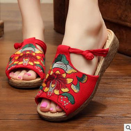 Wholesale Sandals Woman Shoes China - wholesale 2016 summer fashion sandals women China ethnic style slippe embroidery slope thick crust fish head shoes handmade sandals slippers