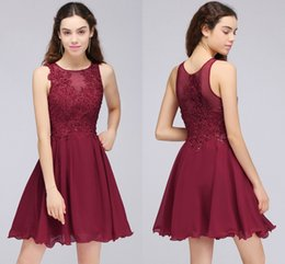 Wholesale Lace Dresses For Young Girls - Burgundy Lace Beaded A Line Chiffon Short Homecoming Dresses Cocktail Party Dresses For Young Girls Jewel Neck Cheap Graduation Gowns CPS707