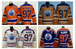 Wholesale Cheap Hockey Jerseys Edmonton - Cheap #97 Connor McDavid Edmonton Oilers Ice Hockey Jerseys with Captain C Patch Blue White Orange Third Alternate Premier Stitched Jerseys