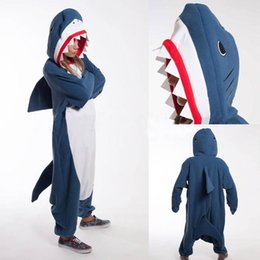 Wholesale Kigurumi Unisex Pyjamas Cosplay Costumes - Kigurumi Adult Animal Shark Pajamas Party Costume Cosplay pyjamas Man Women Unisex Romper Sleepware Winter Fall Spring Jumpsuit S-XL