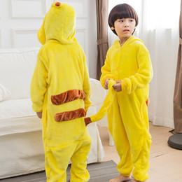 Wholesale Animal Hoodie Pajamas Kid - Hot Sale Yellow Pikachu Kids Pajamas 2017 Cartoon Hoodies Unisex Children Sleepwear Flannel Indoor Kids Animal Pajamas Cosplay Costume