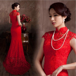 Wholesale Short Traditional Chinese Dresses - Elegant Lace Material Red Color Luxury Chinese Traditional Wedding Dress Qipao Mermaid Wedding Dress 2016 Vestido De Noiva