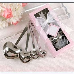 Wholesale Heart Shaped Measuring Tools - Wholesale- Newest 4pcs Set Heart Shape Stainless Steel Measuring Spoons Set Teaspoons For Kitchen Cooking & Baking Tools