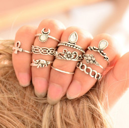 Wholesale Carved African Animals - 10pcs Set Vintage Ring Set Carved Antique Silver Copper Anillos Crystal Knuckle Rings for Women Boho Beach Jewelry SJ