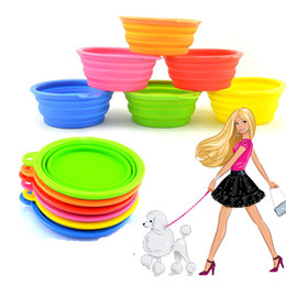 Wholesale Wholesale Ceramic Pet Dishes - Wholesale-1 PCS HOT Dog Pet Portable Silicone Collapsible Travel Feeding Bowl Water Dish Feeder Candy Color