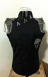 Wholesale Dance Stage Dj - Men's Rivets Tassel Shoulder Design Hip-hop Leather Vest Waistcoat Stage Wear Rock Punk Jacket DJ DS Jacket Motorcycle Jacket
