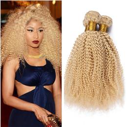 tinte natural para el cabello de color marrón oscuro Rebajas Blonde Afro Kinky Hair Bundles # 613 Platinum Blonde Deep Kinky Curly Mongolian Virgin Human Hair de calidad superior tramas 3pcs