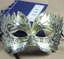 Wholesale Silver Masquerade Masks For Men - wholesale halloween party masks half mask for men masquerade masks archaize mardi gras masks party supplier party gold masquerade masks
