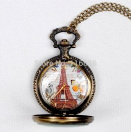 Wholesale Old Watches Necklaces - New Paris Vintage Eiffel spring butterfly pocket watch Women Necklace old fashion fashion woman Jewelry