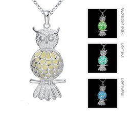 Wholesale Cheap Animal Collars - Animal Cute Owl Pendant Silver Plated Glowing in the Dark Necklace Night Luminous Collar Men and Women's Jewelry Best Friend Gift Cheap Sale
