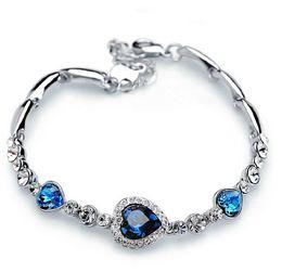 Wholesale Resin Bangles Rhinestone - Bracelets for Women Fashion Ocean Blue Sliver Plated Crystal Rhinestone Heart Charm Bracelet Bangle Gift Swarovski Jewelry Charm Bracelets