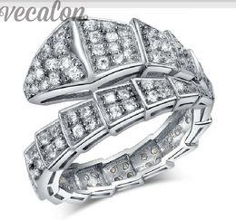 Wholesale Snake Wedding Rings - ecalon Fashion Snake ring 100pcs Cz Diamond ring 10KT White Gold Filled Women Engagement Wedding Band ring free shipping gift
