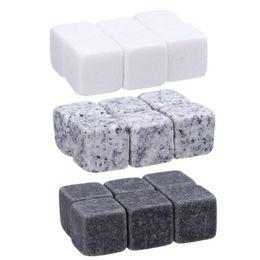 Uísque de pedra on-line-Natural Uísque Pedras Sorvendo Cubo de Gelo Pedra Whisky Rock Cooler Natal Festa de Casamento Bar Beber Acessórios 6 pçs / set OOA3616