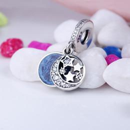 Wholesale European Charm Dangle Blue - Authentic 925 Silver Beads Vintage Night Sky Dangle Charm, Shimmering Midnight Blue Enamel & Clear CZ Fits European Style Jewelry Bracelets