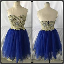 Wholesale Real Image Beaded Mini Dress - Real Photos 2017 New Arrival Sweetheart Neck Gold Lace Homecoming Dress Mini Short Royal Blue Prom Dress Short Sweet 16 Dresses