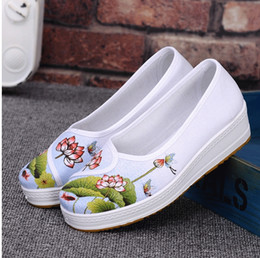 Wholesale Hospital Works - 2017 new old Beijing cloth shoes hospital white canvas working shoes the platform of a platform for the lazy person a shoe
