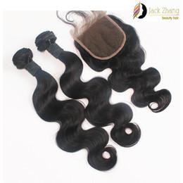 Fermeture de paquets mixtes de cheveux péruviens en Ligne-8A 100% cheveux péruviens faisceaux 1pc dentelle fermeture avec 2pcs cheveux mélangés armure naturelle couleur vague de corps 8-28inch non transformés extension de cheveux humains