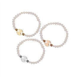 Wholesale Bead Tiny - CL Wholesale 1pcs New design high quality stainless steel charms small tiny shell pearl bears bead bracelet 3 colors