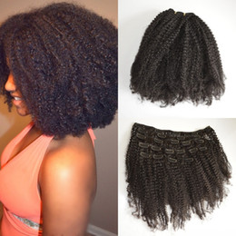 Wholesale Natural Hair Clip Ins - Brazilian Afro Kinky Curly Clip In Human Hair Extensions 4a 4b 4c Natural Black Brazilian Curly Hair Clip Ins G-EASY