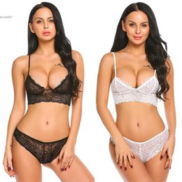 Wholesale Sexy Lingerie Bra Sets - 2017 New bra and panty set women clothing Lace Sexy Mesh Transparent Nightwear Babydoll Sleepwear Lingerie Set