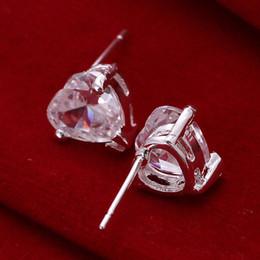 Wholesale Gemstone Diamond Earrings - brand new Heart-shaped diamonds sterling silver plated jewelry Necklace for women DN087,popular white gemstone 925 silver earrings