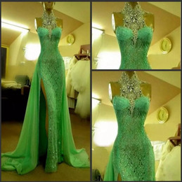 Wholesale Beautiful Women Photos - 2018 Green Mermaid Split Prom Dresses for Women Beautiful Special Occasion Sequined Sexy Halter Lace Runway Party Evening Gowns