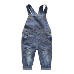 Wholesale Baby Boy Size 12 Months - New Arrival Baby Boys Girls Spring&Autumn Solid Denim Jumpsuits Cute Kids Hemming Overalls Children Brand Jeans Pants Infantil