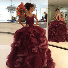 Wholesale elegant organza evening dresses - 2016 Luxury Burgundy Ball Gown Prom Dresses Cascading Ruffles Sheer Lace Appliques Sleeveless Long Elegant Formal Quinceanera Evening Gowns