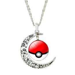 Wholesale Men Wearing Necklaces - Pok Go Moon Poke Ball Chains Necklace Pendant Choker Gift For Women Men Kid halloween wearing