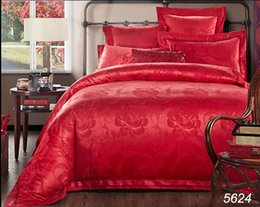 Wholesale Quality Silk Comforter Set - Jacquard quality silk bedding set 4pcs 6pcs wedding silk bed set Chinese red comforter cover cotton bed sheet pillowcases 5624