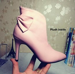 Wholesale Stiletto Heel Ankle Boots Pink - Free Shipping 2017 NEW Vogue Pointed toe Winter Shoes Women Ankle Boots Genuine Leather Cowhide Fashion Short Boot Botas Customized Big Size