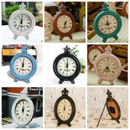 Wholesale Wood Table Desk - Retro Vintage Wood Table Desk Clock Home Décor Vintage Office Clock Home Watches Home Décor Clock 8 color KKA3113