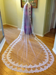 Wholesale Double Layer Long Veils - 2017 Newest Selling Bridal Veils Cathedral Length Double Lace Applique Long Wedding Veil Ivory Or White Veil With Free Comb