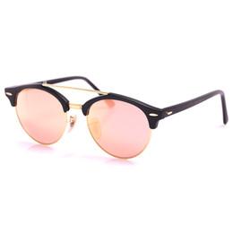 Wholesale Flash Double - Highest Quality Brand Designer Sunglasses for Men Women Round Plank Frame Flash Mirror 100% UV Glass Lens Protection Double Bridge with case