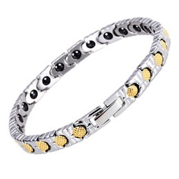 Wholesale Brand Bio - New Brand Women Healing Health Germanium Bracelet Femme Bio 18k Gold Mackerel Scale Design Bangle Hot sale Link Hand Chain Fashion Jewelry