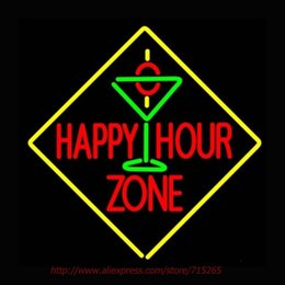 Wholesale Happy Hour Signs - Wholesale- Happy Hour Zone With Martini Neon Sign Neon Bulb Led Signs Real Glass Tube Handcrafted Recreation Room Windows Iconic Sign 24x24
