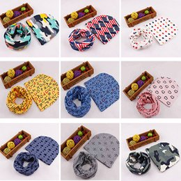 Wholesale Star Hat Scarf - DHL New Beautiful Star anchor Baby Hat Cotton Scarf Infant Hats Sets Children Newborn Beanie Caps Scarf Baby Cap SD-C02